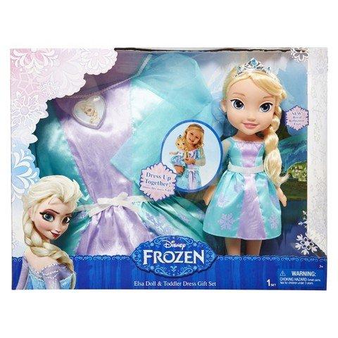 (Disney Frozen Elsa Doll & Toddler Dress Gift Set)