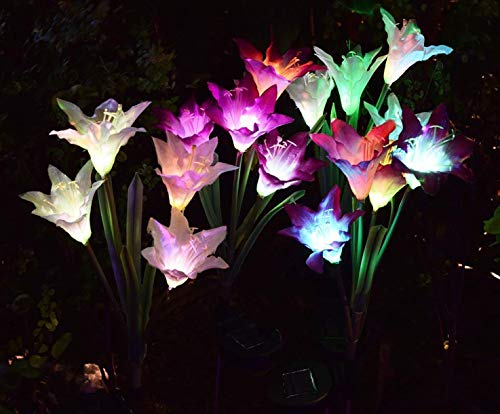 AWJ Products [2 Pack] Solar Lights Outdoor - Solar Garden Lights with 8 Lily Flowers | Color Changing LED Solar Stake Lights for Garden, Patio, Path, Backyard