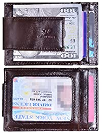 Mens Money Clip Wallet RFID Slim Wallet Genuine Leather Thin Front Pocket Wallet (Small Coffee With Id Window (Oil Leather))