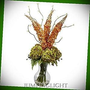 JumpingLight Fancy Foxtail and Hydrangea Arrangement Artificial Flowers Wedding Party Centerpieces Arrangements Bouquets Supplies