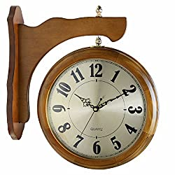 OLQMY-Luxury home decoration Clock, double wall clock, living room large Chinese solid wood wall clock, modern simple retro two-sided clock,A