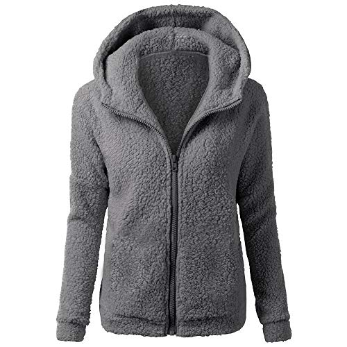 485c5749af1 JOFOW Womens Fleece Coat,Classic Solid Fuzzy Hooded Autumn Winter Casual  Loose Warm New Faux Fur Coats Zipper Padded Jacket (3XL (US:14-16),Dark  Gray)