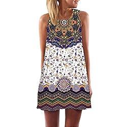 Fanteecy Women S Summer Plus Size Sleeveless Tank Top Floral Printed Tunic Casual Loose O Neck Short Mini Dress M J