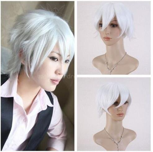 (Futuretrend New Arrival APH Axis Powers Hetalia Prussia Gilbert Beillschmidt Short Silver Cosplay Wig With Free Wig)