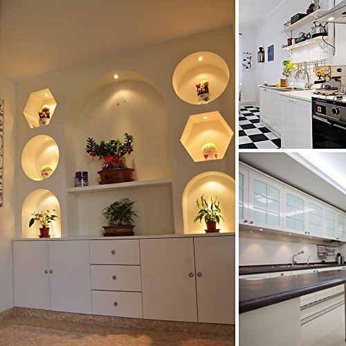 LED Display Cabinet Lighting, Dimmable Ultra Thin 6 Pack 1020LM LED Puck Lights with Touch Dimmer, Warm White Under Cabinet, Counter, Kitchen, Closet Lighting, All in Kit by LEDLampsWorld (Image #6)
