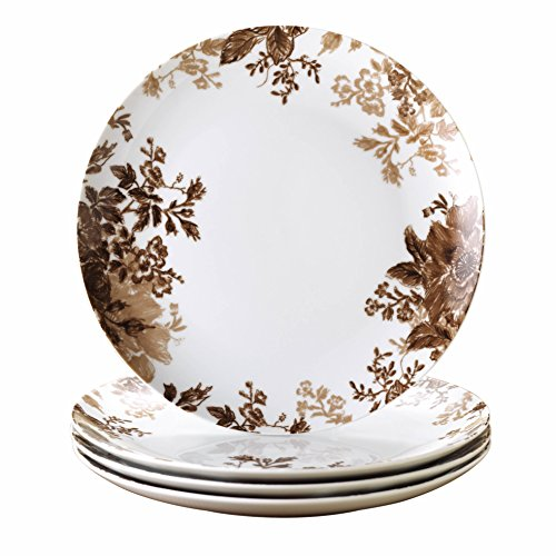 Paula Deen Signature Dinnerware Tatnall Street 4-Piece Dinner Plate Set, Coffee Bean