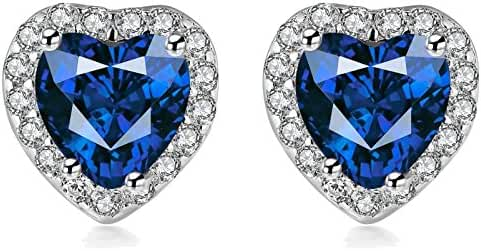 Qianli 925 Sterling silver Cubic Zirconia Heart Shape Stud Earrings for Women