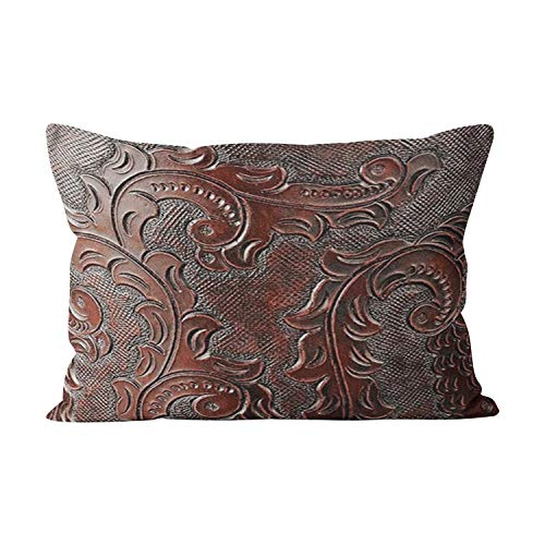 - Suike Coffee Brown Tooled Leather Look Hot Hidden Zipper Home Decorative Rectangle Throw Pillow Cover Cushion Case Lumbar 12x24 Inch One Side Design Printed Pillowcase