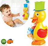 Large Yellow Duck Bath Toy for Toddler and Baby - Super Interactive Bathtub Water Fun! Bonus: Floating Fish