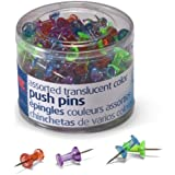 Officemate Push Pins, Assorted Translucent Colors, 200 Count (35710)