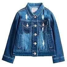 Kedera Big Boys' Ripped Denim Jacket Button Down Jeans Jacket Top Blue 13-14