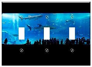 Switch Plate Triple Toggle - Aquarium Shark Okinawa Japan Fish Water