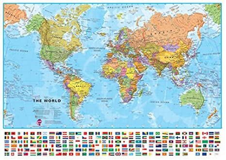 Amazon maps international world wall map 39 x 54 laminated maps international world wall map 39 x 54 laminated gumiabroncs Choice Image