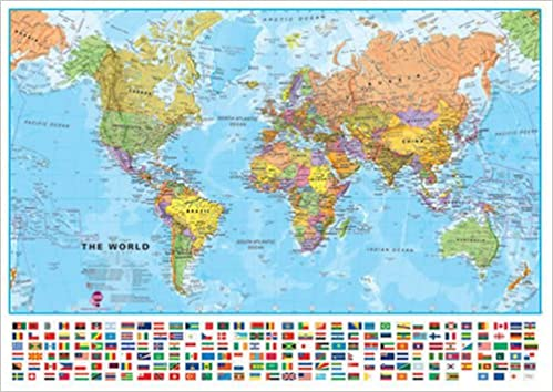 Large Political World wall map with flags Laminated Amazonco