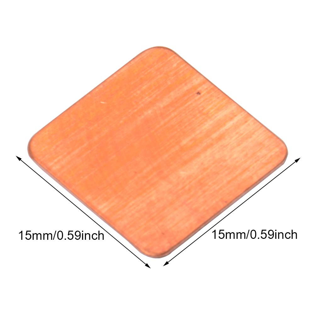 CJRSLRB 30Pcs Heatsink Copper Pad Shims 30Pcs Thermal Conductive Adhesive Stickers for IC Chipset GPU CPU Cooling 15x15x0.1mm