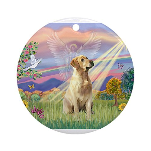Lab Baby Christmas Ornament - CafePress - Cloud Angel &Amp; Yellow Lab 8 Ornament (Round) - Round Holiday Christmas Ornament