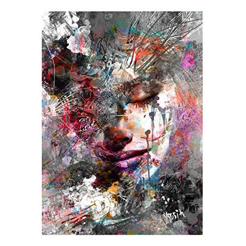 XIXISA Pintura al oleo Colorida de la Muchacha de la Pintada Abstracta en los Carteles de la Lona Impresiones Arte Pop Moderno de la Imagen del Arte para la Sala de Estar Cuadros 40x60cm Sin Marco