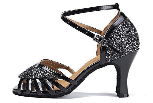 Honingwinkel Dames Glitter Suede Zool Latin Dansschoenen Hak Salsa Tango Pump Zwart Zwart