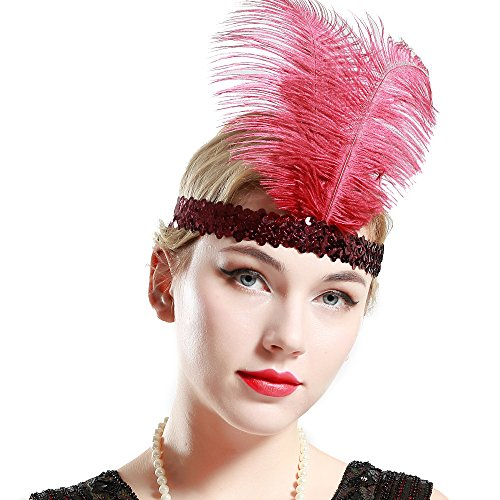 BABEYOND 1920s Flapper Headband Roaring 20s Sequined Showgirl Headpiece Great Gatsby Headband with Wine Red Feather (Fabulous Flapper Costume)