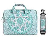 MOSISO Laptop Shoulder Bag Compatible 14-15.6 Inch 2018 2017 2016 MacBook Pro Touch Bar A1990 A1707, Dell HP Chromebook Notebook, Canvas Mandala Pattern Protective Briefcase Cover, Mint Green & Blue