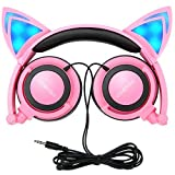 Cat Ear Headphones,MindKoo Kids Headphones Flashing Glowing Cosplay Fancy Foldable Over-Ear Gaming Headsets with LED Light for Girls,Children,Compatible for iPhone 6S,Android Phone (Pink)