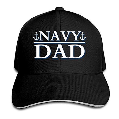 Borielly Men's Navy Dad Memorial Day Contrast Sandwich Peak Cap Black (Rorschach Hat)