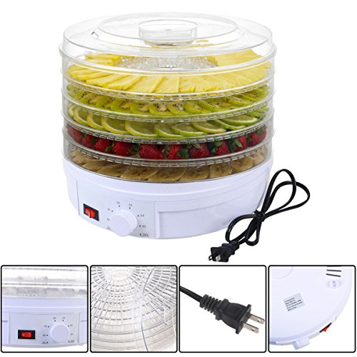 5 Tray Electric Food Dehydrator Fruit Vegetable Dryer Beef Snack Jerky White - Excalibur Flask