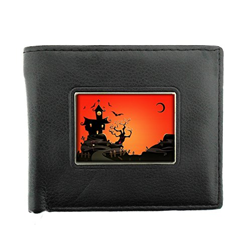 Perfection In Style Black Bifold Leather Material Wallet Vintage Halloween Design 024