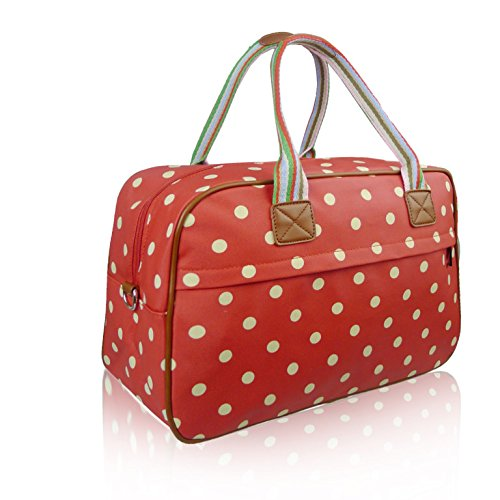 Dot Red Ladies Fashion Bag Handbag Overnight Oilcloth Matte Spotty Polka 55WqnvpTS