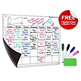 Antaprcis Smart Planner's Weekly-Daily Magnetic Chalkboard Set Kitchen Refrigerator Board with 4 Markers 1 Dry Erase 11.7'x16'(40cm×30cm)