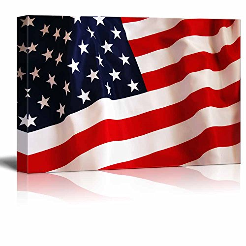 Canvas Prints Wall Art   Flying American Flag Patriotic Concept | Modern  Wall Decor/ Home Decoration Stretched Gallery Canvas Wrap Giclee Print U0026  Ready To ...