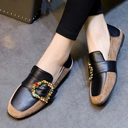 GIY Womens Classic Buckle Penny Loafers Flats Square Toe Slip-On Rhinestone Casual Loafer Oxford Shoes Khaki yKccYA0XF