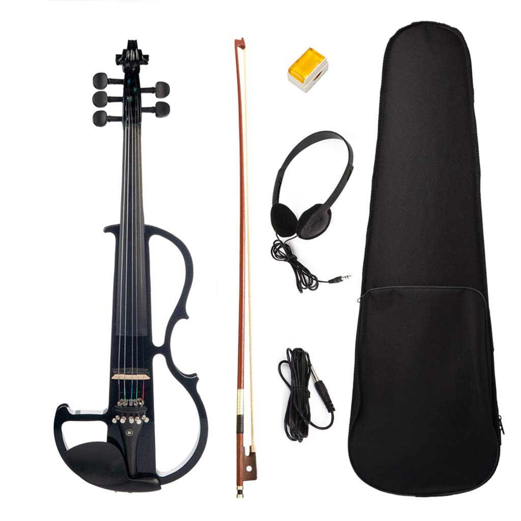 Homyl 5 String Electric Violin with Bow, Carrying Case, Rosin, Headphone, Cable, Ebony Violin Accessories
