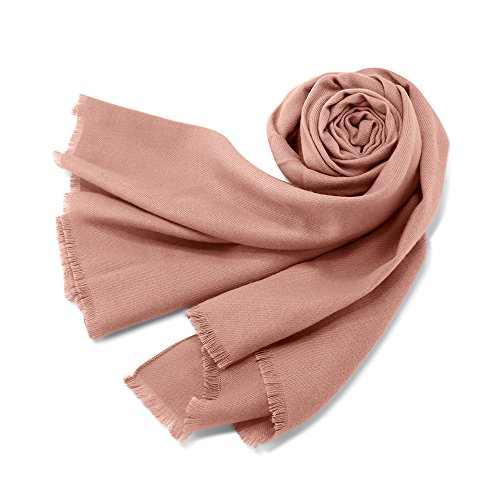 (Oct17 Women Large Scarf Soft Cashmere Feel Pashmina warm Shawls Wraps Winter Fall Scarfs Solid Color Light Weight Scarves - Pink)