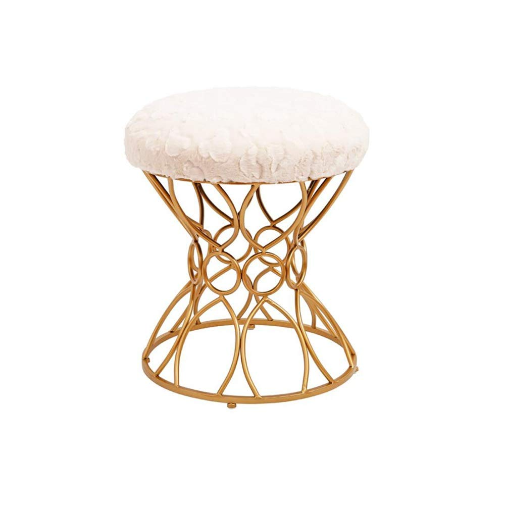 Off white1  LJHA dengzi Iron Art Stool, Dressing Stool, with Cloth Fabric Cotton Stool Change The shoes Bench, 3 colors Chaise Longue (color   Off white1 )