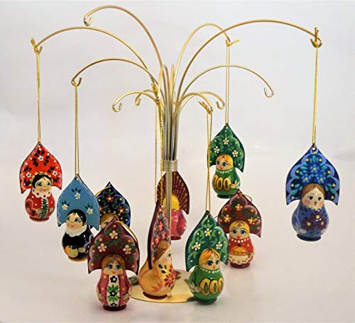 Ornaments In Russian Folk Costumes - Ass.(One) Woodcarved and Handpainted Ornament Doll