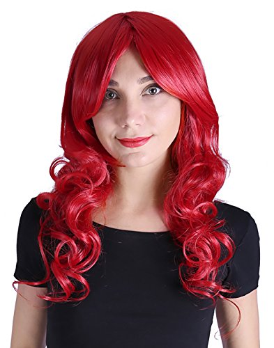 HDE Womens Long Wavy Wig Curly Glamour Hair Style for Halloween Cosplay Costumes (Red)