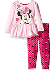 Disney Girls' Little Girls' 2 Piece Minnie Mouse Bow Back Top and Legging Set