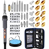 Wood Burning Kit, 35Pcs Woodburning Tool with Soldering Iron, Wood Burning/Soldering/Carving/Embossing Tips, Stand, Knife Chuck, Blade, Stencil, Carrying Case
