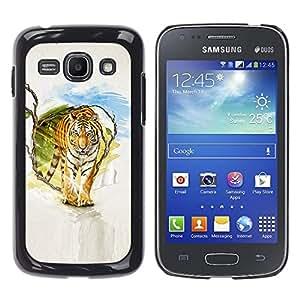 LECELL--Funda protectora / Cubierta / Piel For Samsung Galaxy Ace 3 -- Tigre Pintura Arte --
