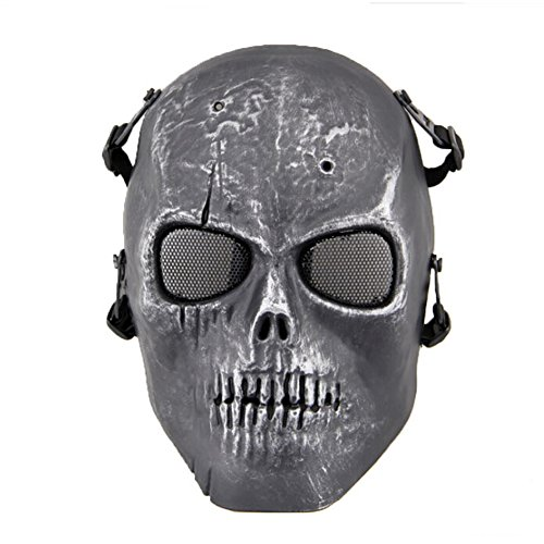 VILONG Airsoft Paintbal Dummy Gas Mask Fan for Cosplay Protection Zombie Soldiers Halloween Masquerade Resident Evil Antivirus Skull (Silver (Zombie Contact Lens)