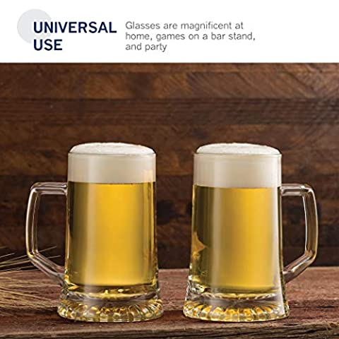 Bormioli Rocco 4-Pack Solid Heavy Large Beer Glasses with Handle – 17.1/4 Ounce Glass Steins, Traditional Beer Mug…
