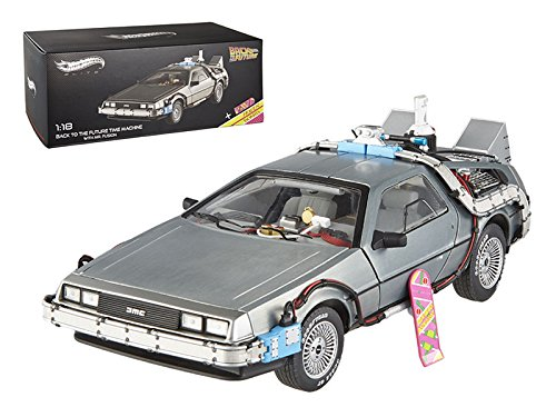 Hot wheels BCJ97 Elite Cult Classics Back To The Future Time Machine Delorean with Extras and Mr. Fusion 1/18 Diecast Car Model by Hotwheels