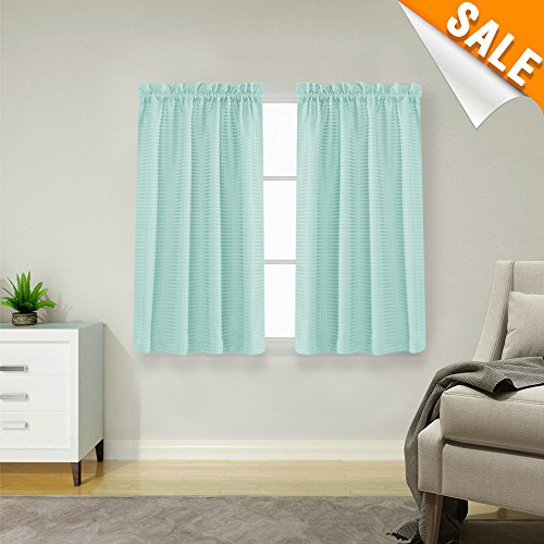 Lazzzy Light Teal Waterproof Small Window Aqua Curtains for Kitchen Waffle Woven Textured Short Curtains for Bathroom Window Covering for Kitchen 1 Pair 45