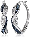 Sterling Silver Montana Blue and White Swarovski Crystal Double Twist Hoop Earrings