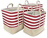 Red Striped Cotton Canvas Nested Rect Hamper, Set of 3 - Lg=16''Lx12''Wx16''H