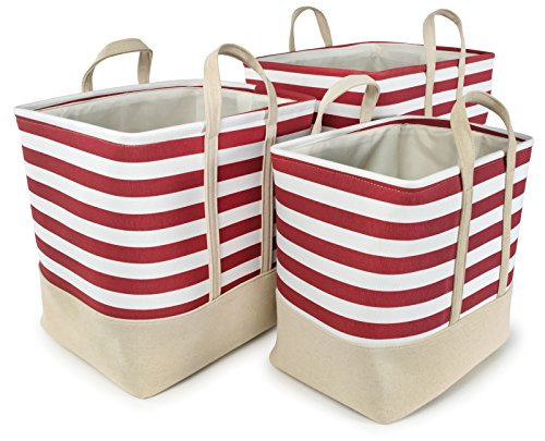 Nested Lined Baskets - Red Striped Cotton Canvas Nested Rect Hamper, Set of 3 - Lg=16