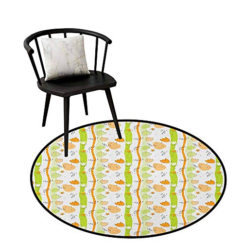 (Super Soft Anti-Skid Round Area Rug Abstract,Cartoon Style Floral Pattern with Vertical Stripes Background, Pale Orange Apple Green Black,Living Dinning Room and Bedroom Rugs 35