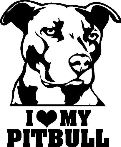 (I Love My Pitbull PREMIUM Decal 5 inch [WHITE] | Pit | American Bull Dog Staffordshire Terrier| Animal Lover | Peta | car truck van laptop macbook bumper sticker)