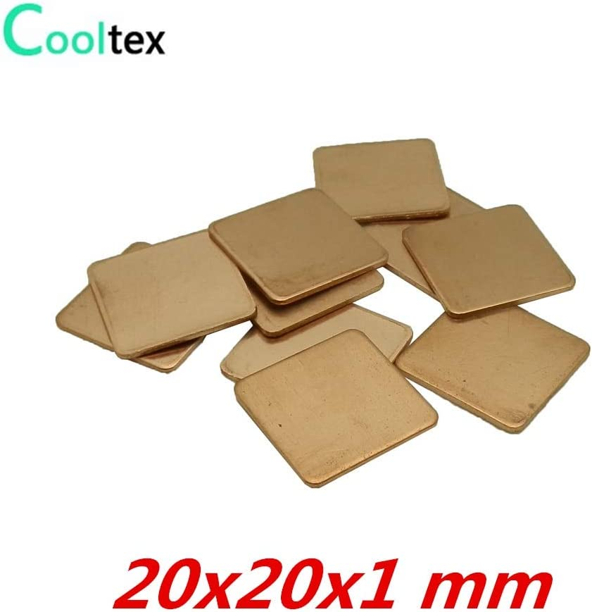 Rarido 10pcs//lot 20x20x1mm DIY Copper Shim Heatsink Heat Sink Sheet Thermal Pad for Laptop GPU CPU VGA Chip RAM Cooler Cooling
